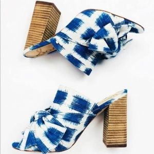 Sam Edelman Yumi Blue & White Bow Mule/Heels. Size 8.5 Euro 38.5